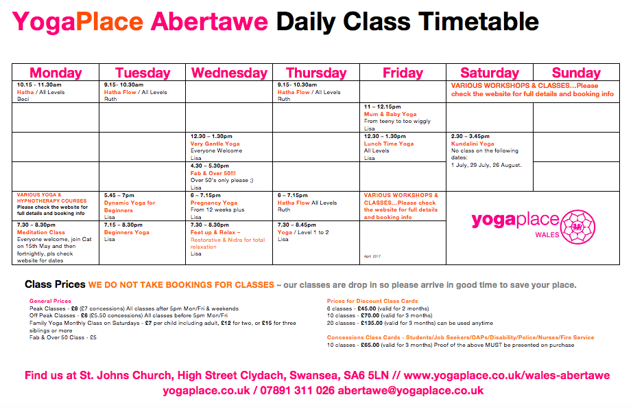 Class timetable / schedule at Yoga Place Abertawe for April 2017